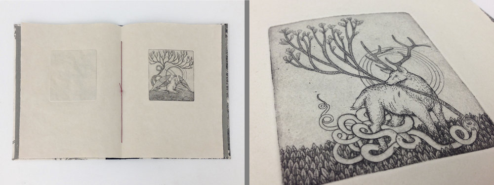 "Media: Intaglio (line etch & aquatint) on handmade paper; hard cover pamphlet book structure featuring 6 small plates and a large etching for the cover Dimensions: 6"" x 9"" closed; 12"" x 9"" open Date: 2017 Edition: 3 Course: ARST3310/ARST7310 Introduction to Book Arts Assignment: Final project with an open theme to craft a book utilizing handmade paper with a cohesive concept. The book must contain text or image or both but the media choice was unrestricted and could include drawing, painting, collage, any printmaking technique, etc."