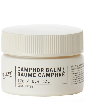 LE LABO, Camphor Balm, 12g, £18, available at Liberty London -     This NYC silky-soft beauty saviour, is the perfect balm to ease the stress of busy city living. Designed to give a soothing and stimulating boost, simply massage onto temples, neck or areas of tension to alleviate stresses in both the mind and body. This balm contains eucalyptus, black pepper and the celebrated Camphor, which not only has a cool and lasting aroma, also has many medicinal benefits. It acts as a stimulant, improving circulation, metabolism, digestion, secretion, and excretion, as well as being an antispasmodic, anti-neuralgic and nervous pacifier, reducing nervous disorders, and releasing spasms, and also has properties as an anaesthetic, disinfectant and insecticide, preventing skin infections, and as an anti-inflammatory and sedative, helping arthritis, relaxing both the body and the mind.All singing all dancing - this is one miracle balm!