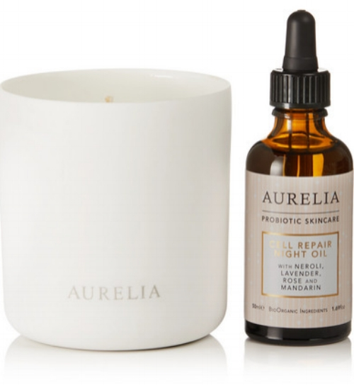 AURELIA PROBIOTIC SKINCARE, Peaceful Glow Collection, £117, available at Net-A-Porter -     Harnessing the powers of aromatherapy in both a candle and night oil, this set has made our Favourites list! While the essential oils of Lavender, Neroli, Rose and Mandarin in the night oil are dreamy to massage into your face, neck and décolletage to hydrate and soothe your skin, the candle provides a soothing and comforting glow and scent to bring tranquility into your home.