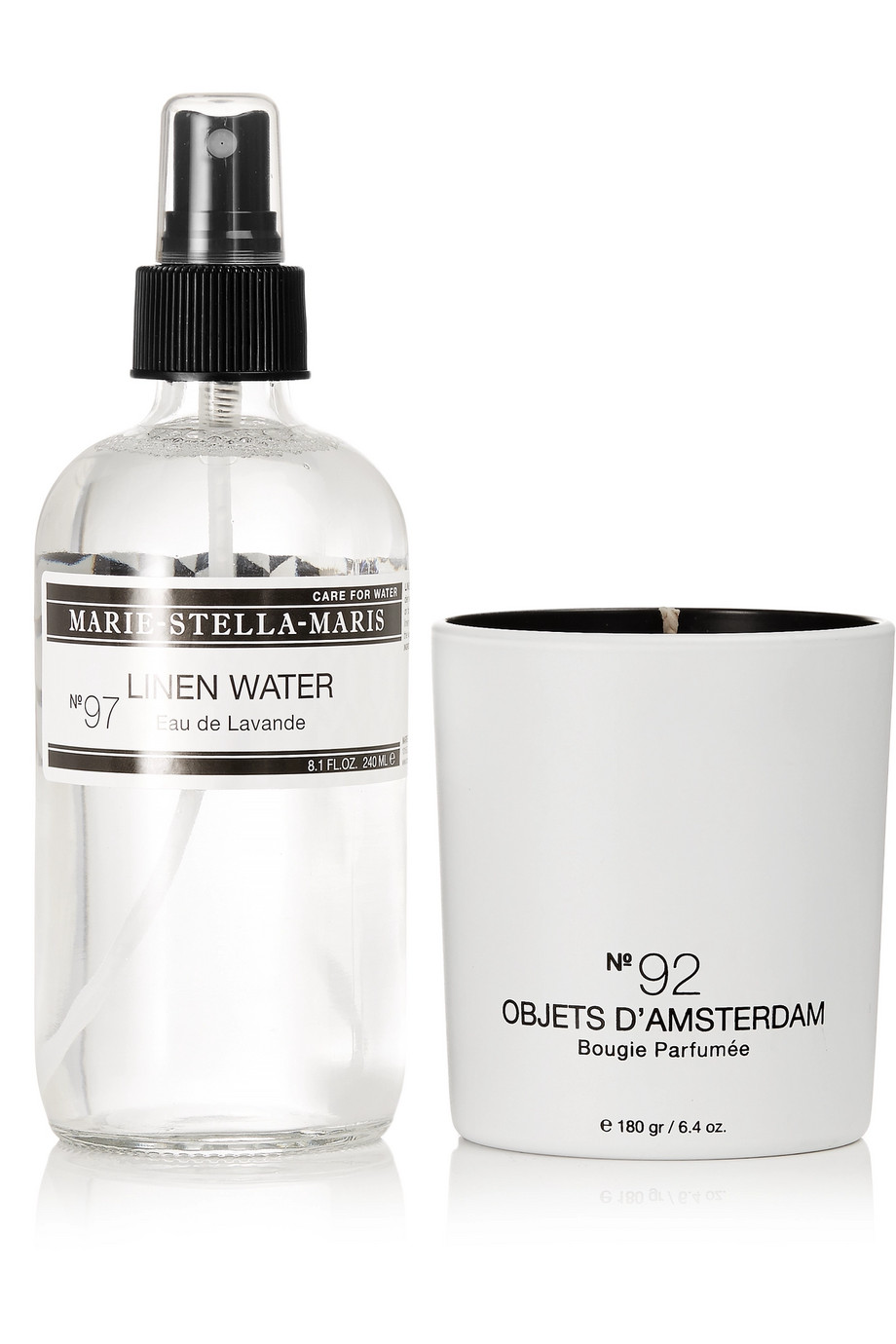 MARIE-STELLA-MARIS, Home Kit, £55, available at Net-A-Porter - Bring this kit into your home to bring a sense of calm and relaxation.Not only does this set include a chic candle, which has delicious notes of White Tea, Bergamot and Lemon for an instant room-refresh, it also contains the 'No. 97 Eau de Lavande' spray which releases a soothing sent of Lavender, Eucalypus and Musk - the perfect calming spray for our bed sheets and pillows.