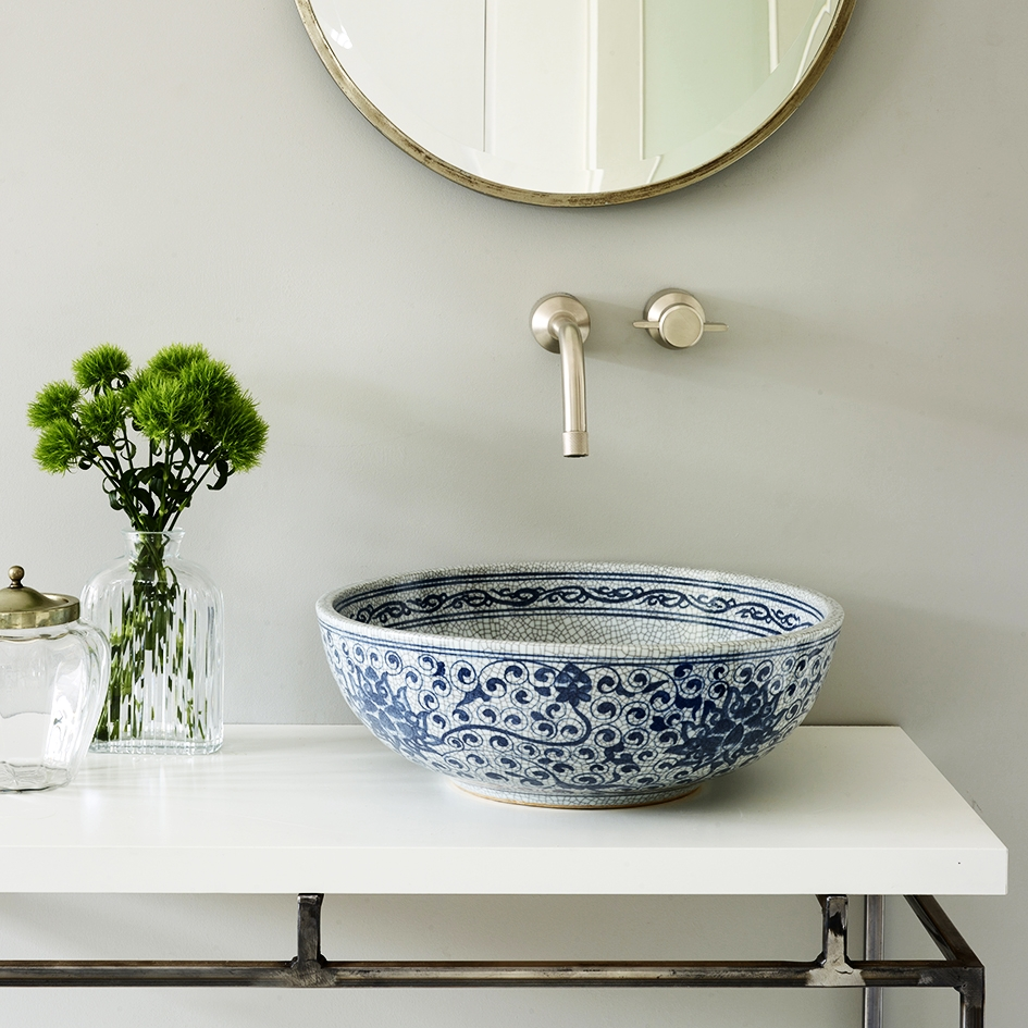 """Coralie"" Basin - What a stunning white and blue crackle porcelain basin! We fell in love with it instantly. A simple, classic and charming basin that is reminiscent of Dutch Delftware design. Each basin has the ability to transport a bland bathroom into a stunning space!"