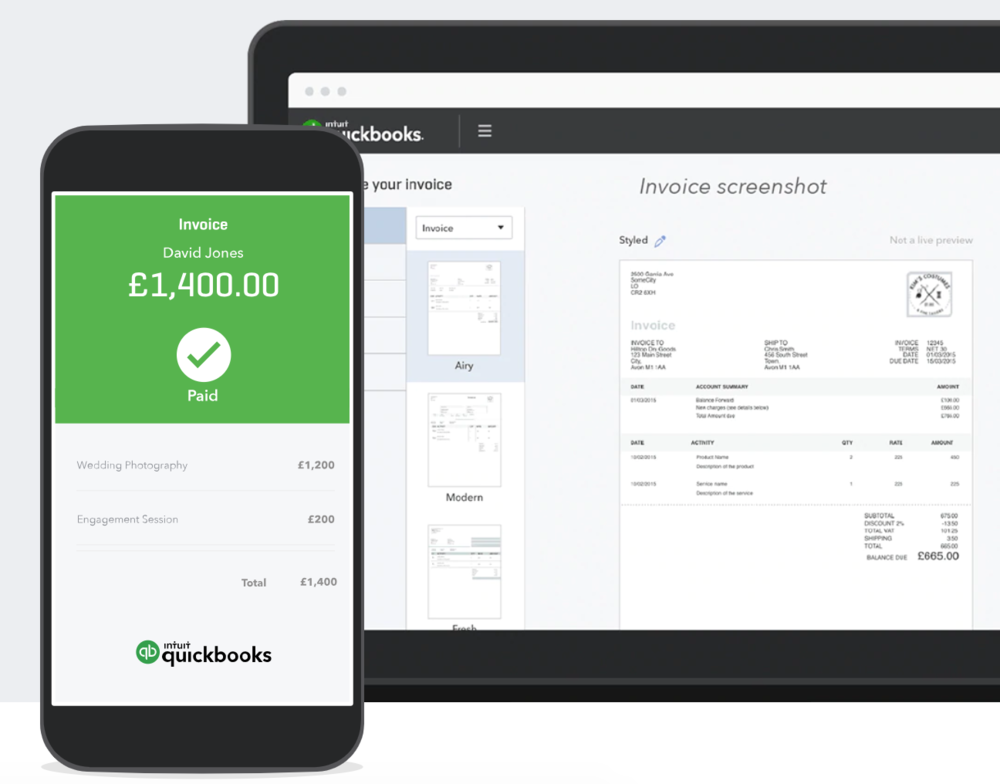 quickbooks invoices
