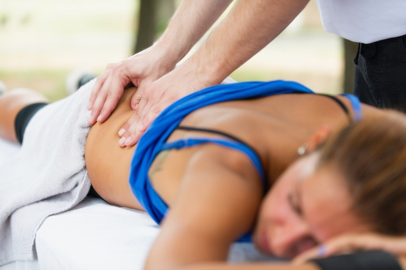 woman getting a sports massage