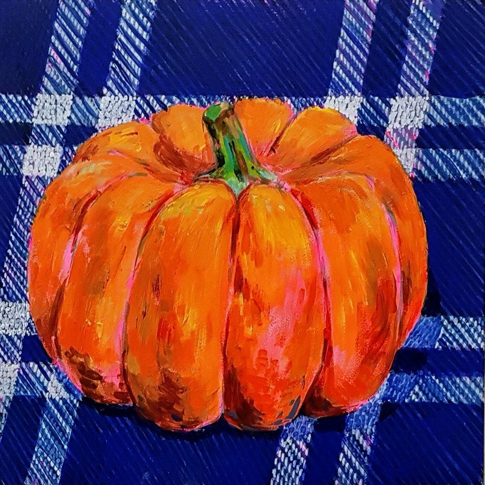 Still life - pumpkin on blue fabric (part a bigger project)