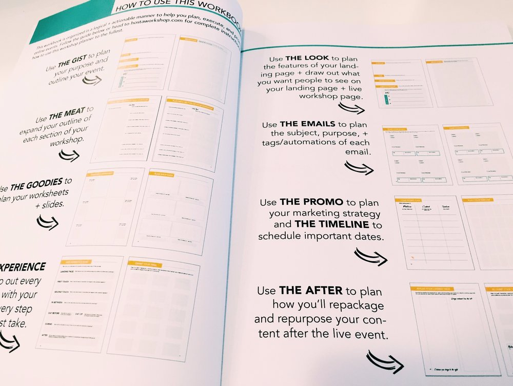 A workbook for planning your next webinar, workshop, or live training event.