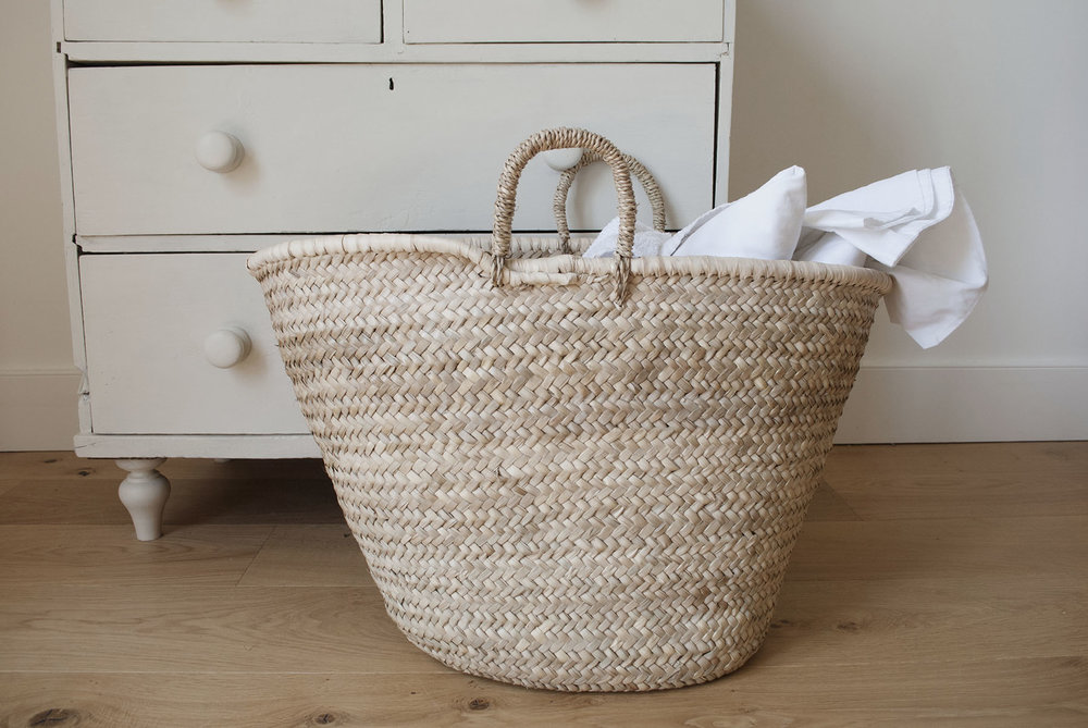 Woven Shopping Basket Uk : Large palm woven basket the green room