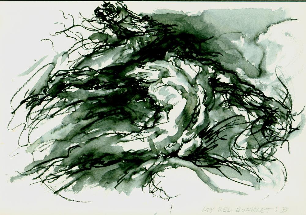 "<font size='3' font color='gray'><p id=""myP"" style=""text-transform:capitalize"">Man & Horse  (Pen & ink, wash, 4.75 x 6. 75) c. 1985</p>"