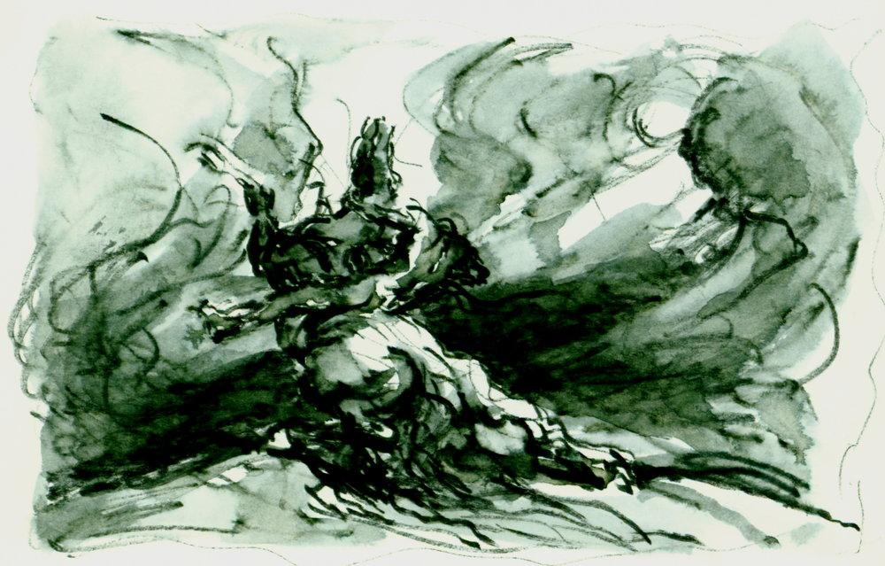 <font size='3' font color='gray'>MAN & HORSE  (Pen & ink, wash, 4 x 6) c. 1980's