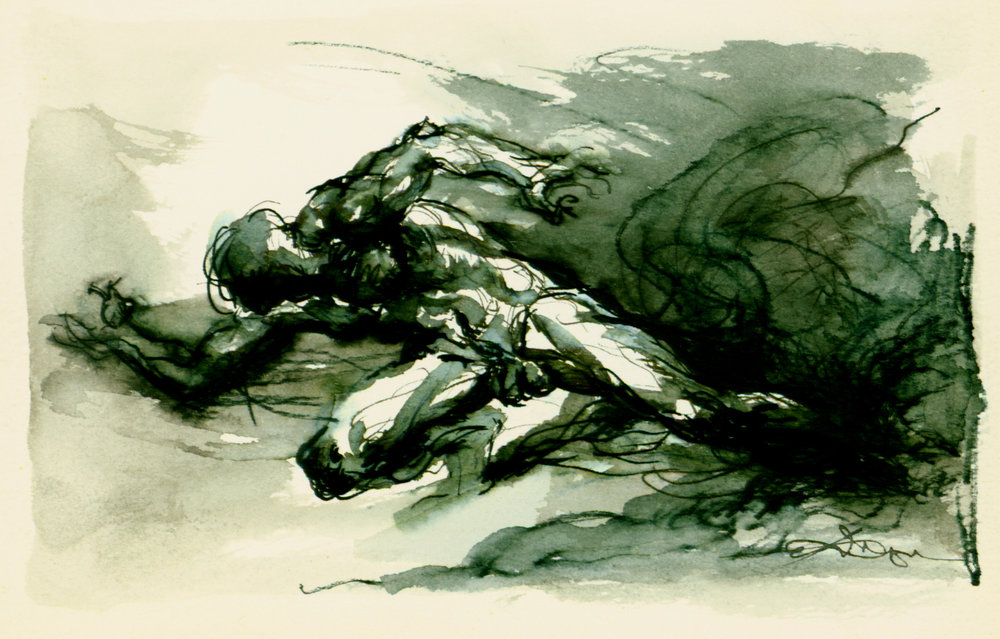 <font size='3' font color='gray'>Olympic Runner  (pen & ink, wash, 4 x 6)