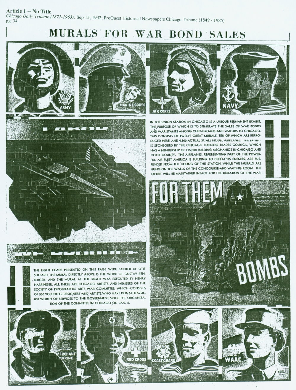 """Bonds for Us, Bombs for Them"" - Chicago Daily Tribune - September. 15, 1942 War Bond Murals, Chicago Union Station"