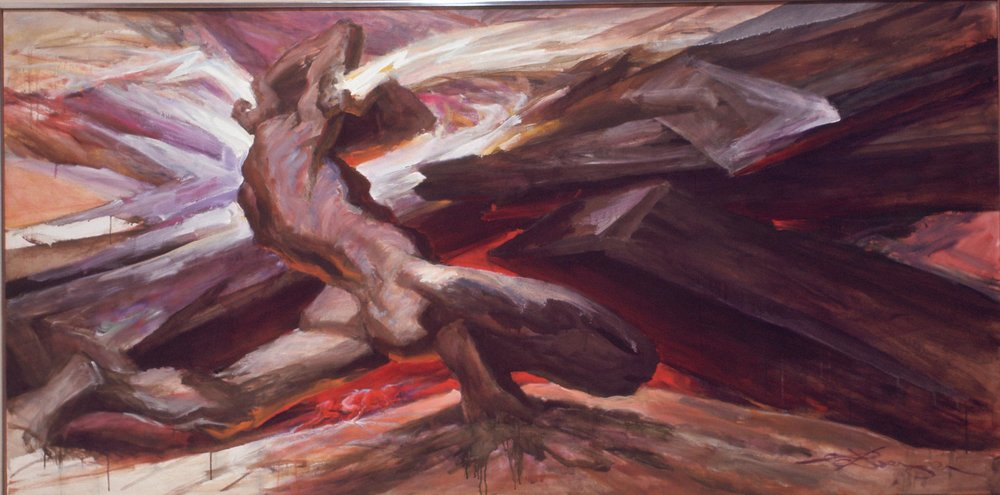 """V - Man Against Destiny"" (Oil, 48 x 96 in)"