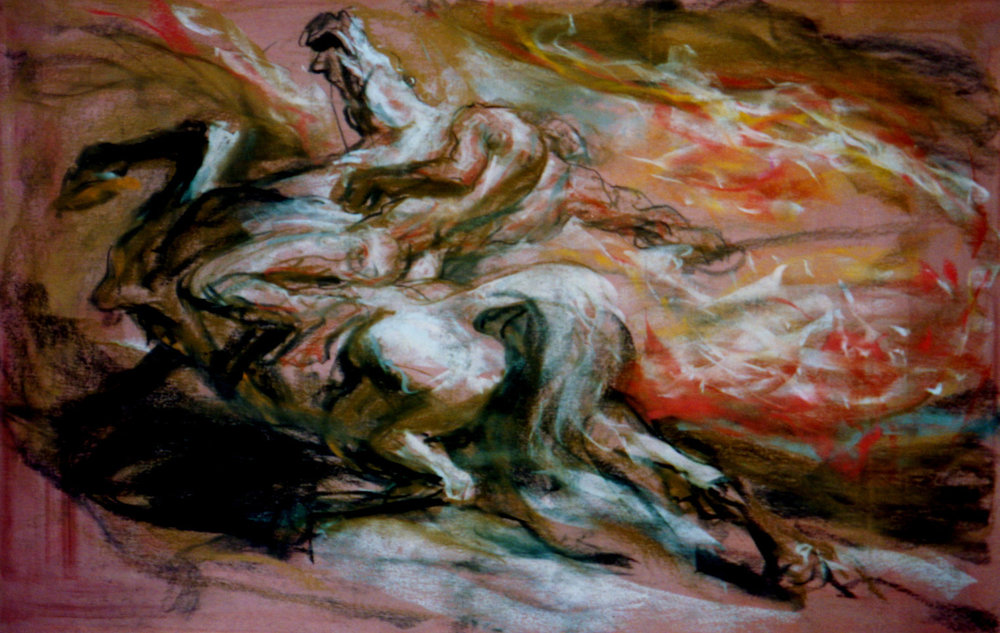 1978 #1f Art with Music - Art Students League of NY  (lecture chalks, 4 ft.  x 8 ft., paper)  Man & Horse.jpg