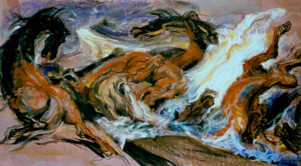 1982 #1d The Artisans Studio-Gallery, Dallas, TX (pastel, 4ft x 7ft, paper) Apocalypse.JPG