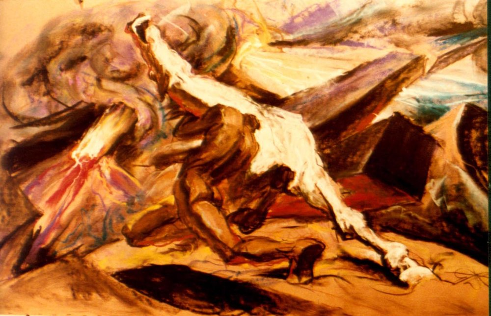 1983 #2i Pastel Society of America, National Arts Club (pastel, 4 ft. x 7 ft., paper) (Man & Horse).JPG
