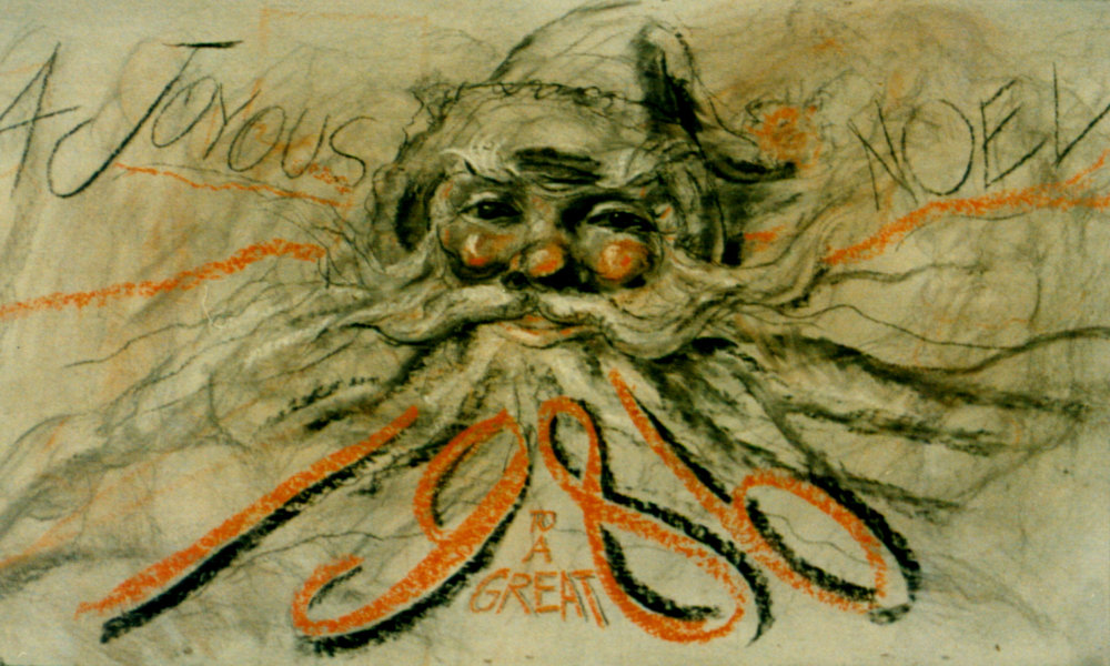 """A Joyous Noel"" (Chalk, 4 x 6 ft.) 1986"