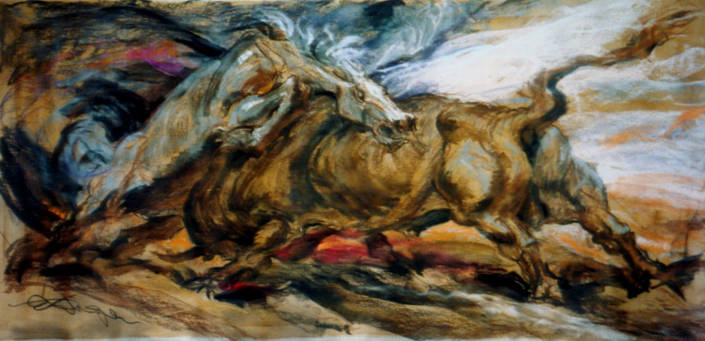 Horse & Bull Fighting (Lecture Chalks on Paper, 4 x 8 ft.)