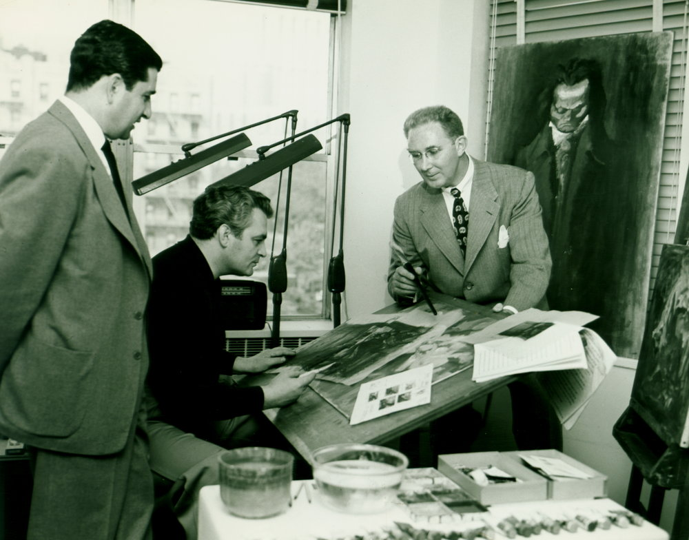 Gustav Rehberger with George Samerjan, Executive Art Director of Esquire & Fred (c. 1951)