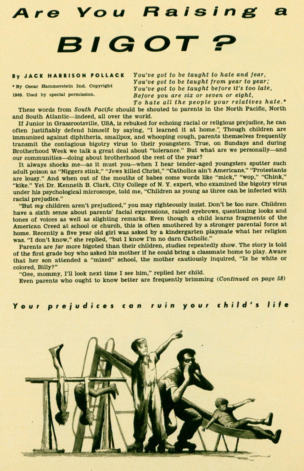 October 1953 - Are You Raising a Bigot?