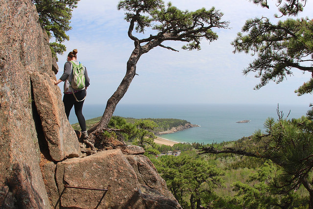 Beehive Trail, overlooking Sand Beach in Acadia National Park. Photo by flickr user daveynin, License