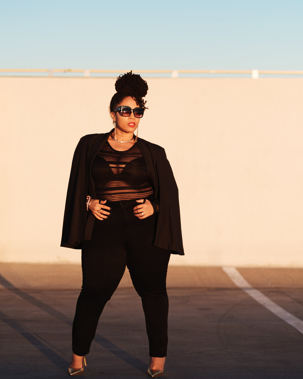 ...Look Details... - Tuxedo Cape | Gwynnie BeeMesh Top | Fashion2FigureShoes | Zendaya
