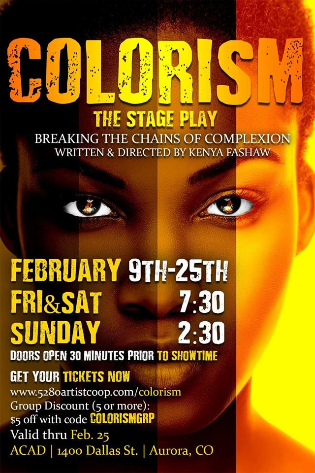 I can't believe that our new play 'Colorism' opens THIS weekend in Denver, on Feb 9th! ( Get tix here .)