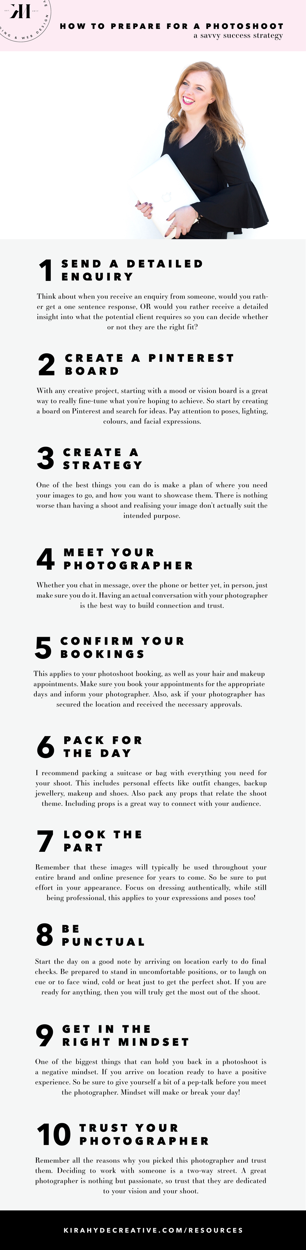 How to Prepare For a Photoshoot - Kira Hyde Creative
