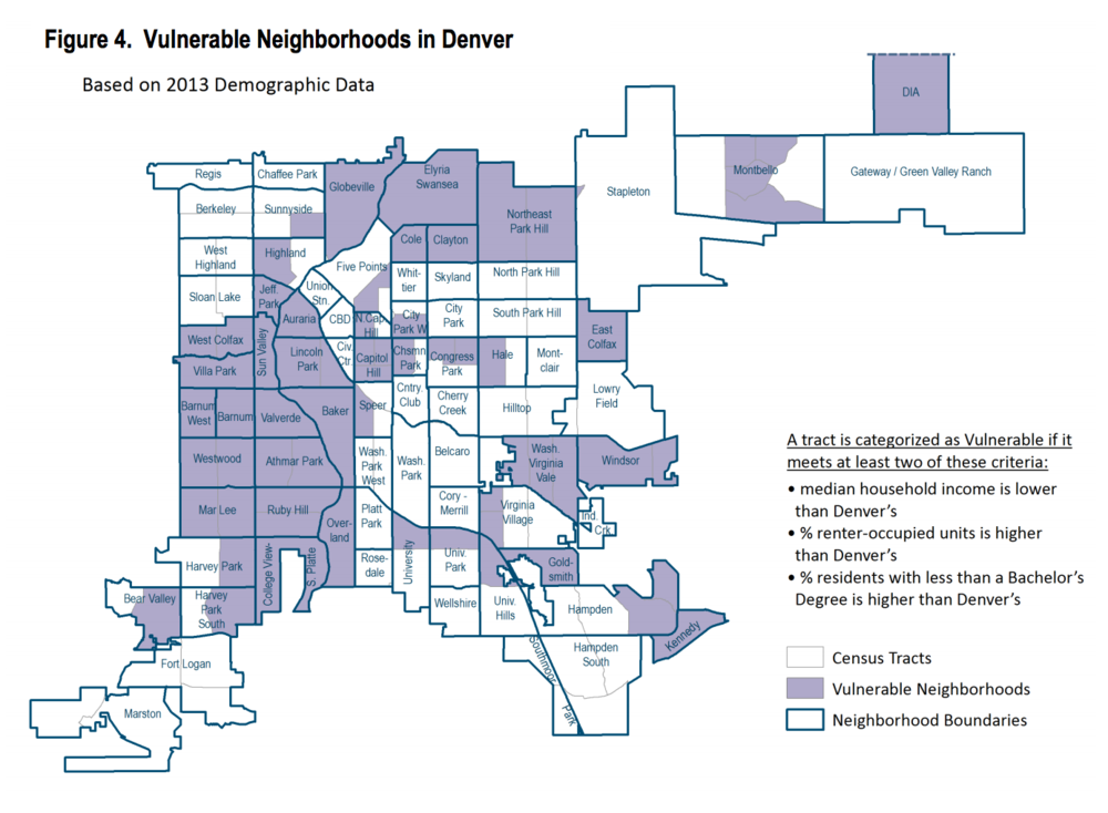 "A map of Denver's vulnerable neighborhoods in a gentrification study released by the Office of Economic Development in 2016. The report was considered in the drafting of the five-year affordable housing plan. Credit: Gentrification Study: ""Mitigating Involuntary Displacement"""