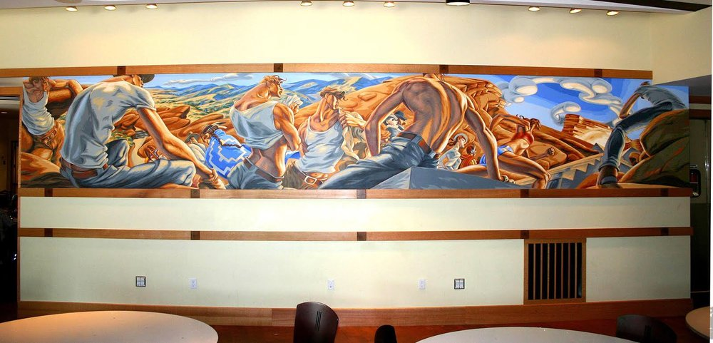 "Reid's ""March To Progress"" mural, which was eventually accepted by the Commission. It now hangs in the Red Rocks Room at the concert venue. (Credit: Andrew Reid)"