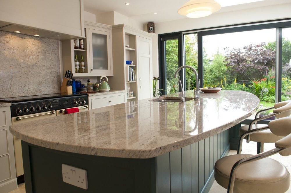 Bespoke handmade kitchens, island worktop