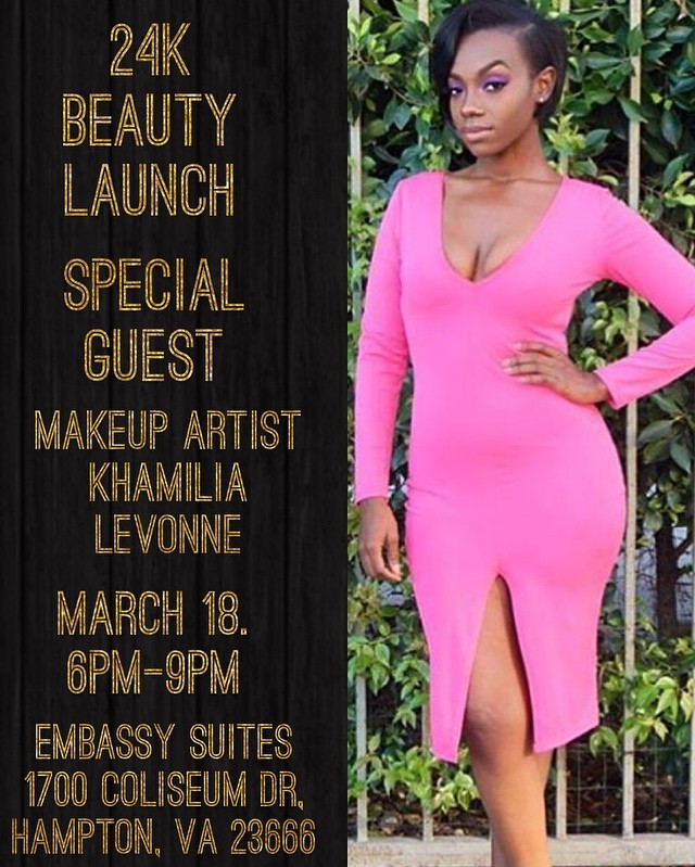 Join Us And Reveal Your Inner Beauty with 24K Cosmetics Saturday, March 18, 2017, 6-9PM.  For Professional Makeup Artist, Makeup Demonstration And Much More.  Enjoy Light Refreshments and Door Prizes.  Free Admission Tickets Are Available On Eventbrite.  24K Cosmetics Products Are Available To Purchase On Site.  See You There!  Check Out the Link Listed In My Bio  _______________________________________________. . . #makeupbyme#makeuptutorial#makeupartist#makeupporn#lipstick#mattelipstick#dmv#757#entrepreneur#7cities#hamptonuniversity#wakeupandmakeup#model#beautyandthebeast#beauty#beautyblog#blogger#fashion#followforfollow#photography#like4like#24kbeauty#24kmagic#highlighter#highlight
