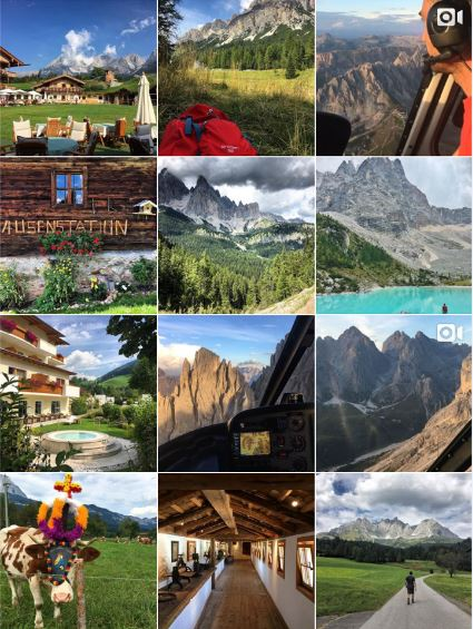 GERMANY, ITALY, AUSTRIA - Partnership with @hotelstanglwirt, @alpenpalace, and Elikos Helicopters in the Dolomites. Provided photography content, Instagram takeover, and business development guidance.