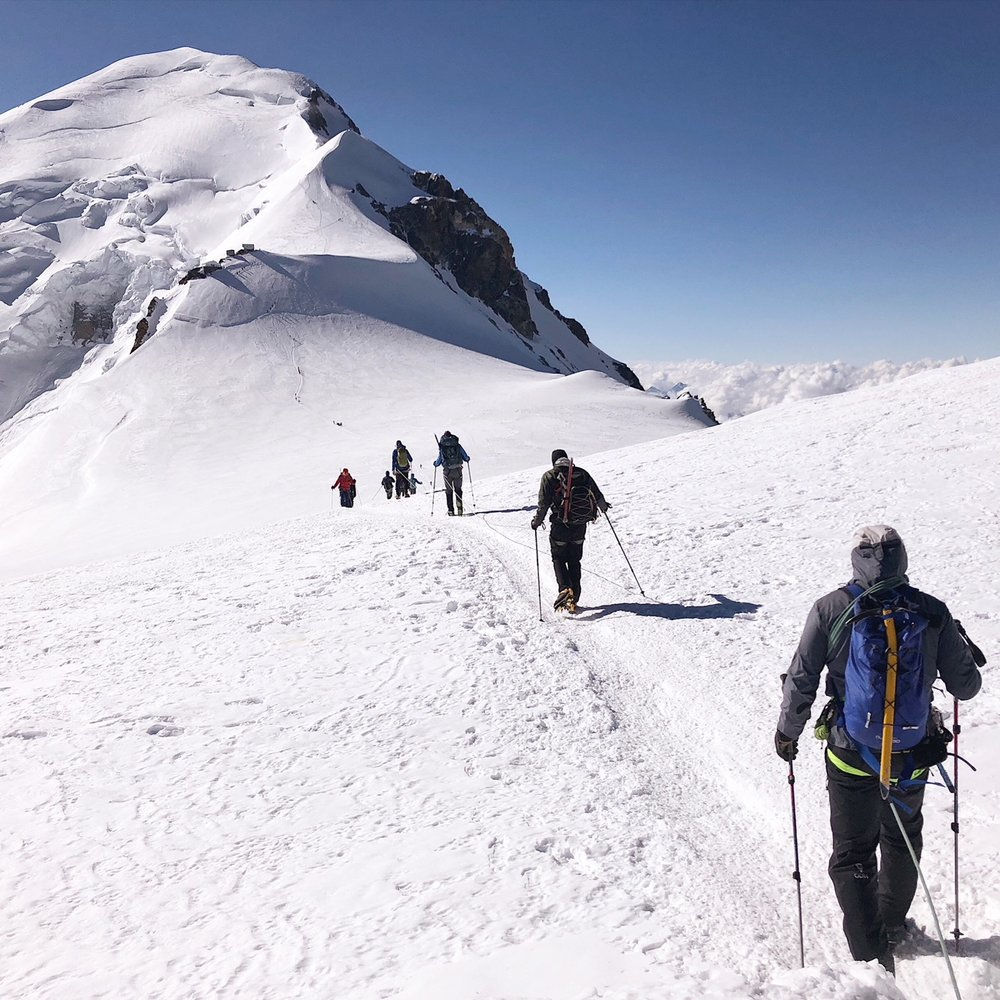 Heading up the mountain post Gouter hut mid morning