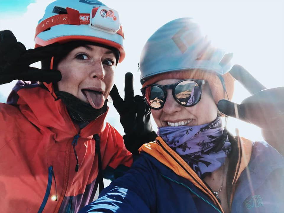 Happy faces at summit after scrambling up