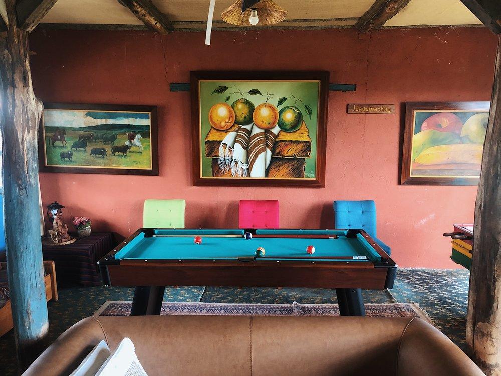 Cozy rustic lounge area
