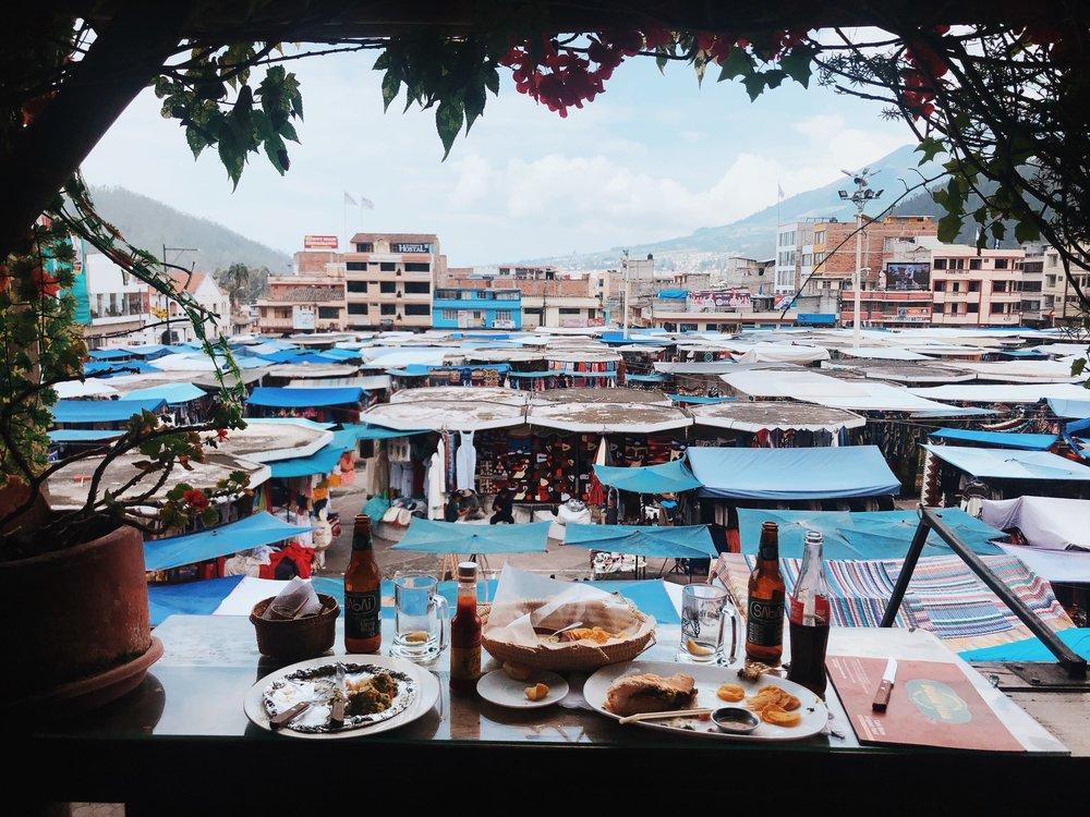Restaurant overlooking Otavalo souvenir market