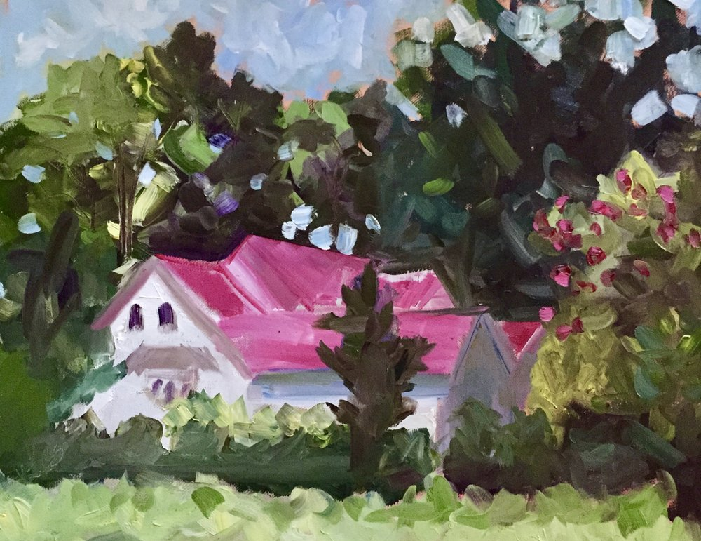 """Pink Roof"", 16x20 Oil on canvas. From my first workshop, with Cathy Martin"