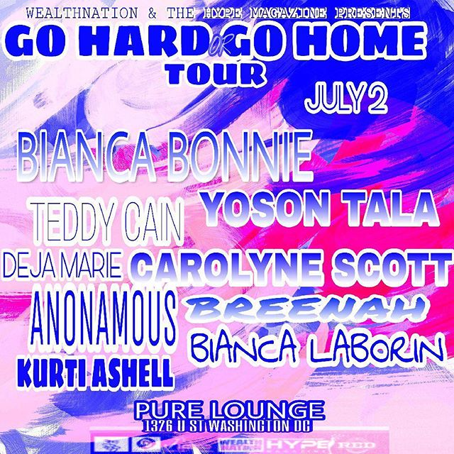 TONITE LIVE WASHINGTON DC @PURELOUNGE #GOHARDGOHOME #WASHINGTONDC #TOURLIFE #TOURING  July 2
