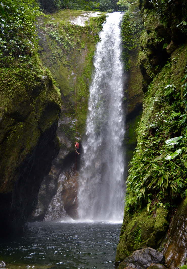 First descent of the Rio Zacate 150' waterfall in Pico Bonito National Park