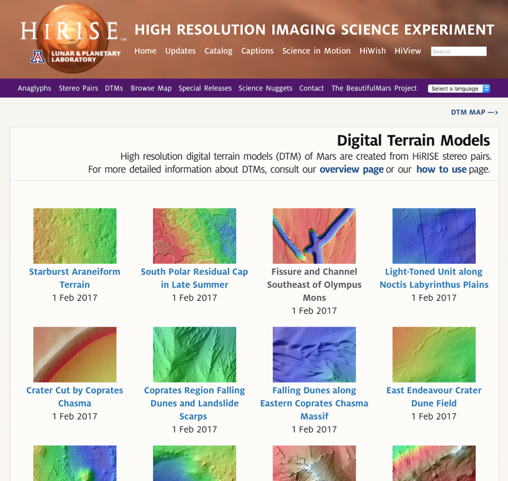 Head over to the HiRISE Site's DTM section. You'll be presented with a gallery of nearly 400 multi-coloured images to choose from. Select the DTM you wish to work with.