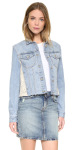 Denim Lace Paneled Jacket