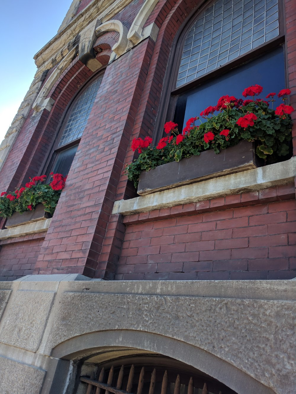 Flower boxes adorned the buildings.