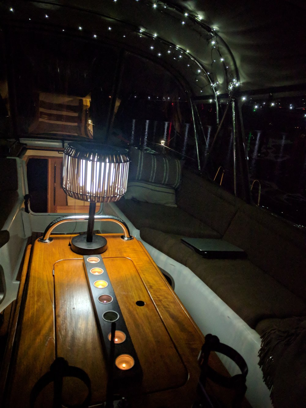Inside our enclosed cockpit at night.