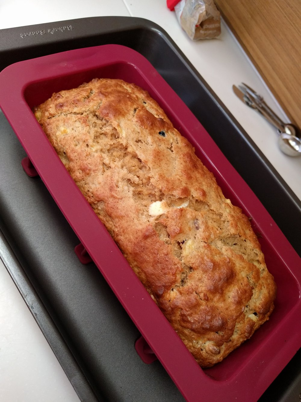 Banana, cranberry, white chocolate bread.