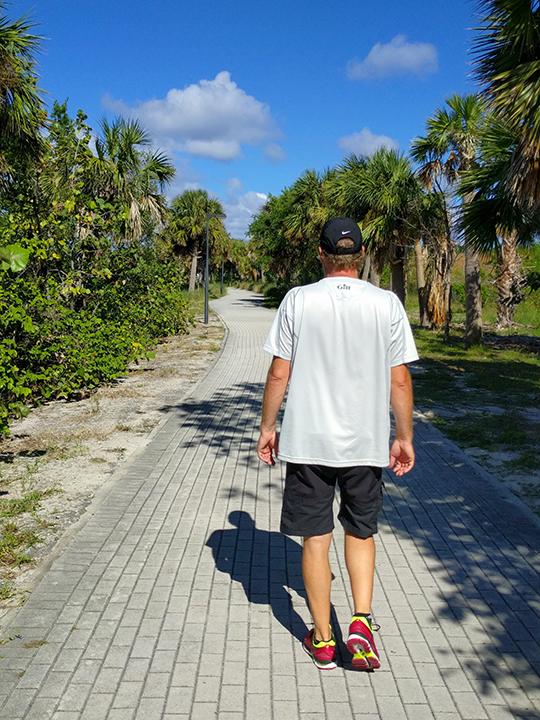 The walking paths on Peanut Island.