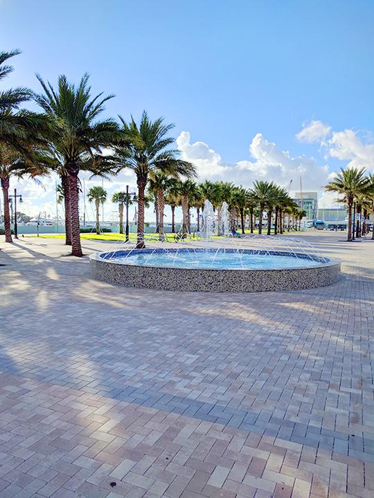The marina fountain.