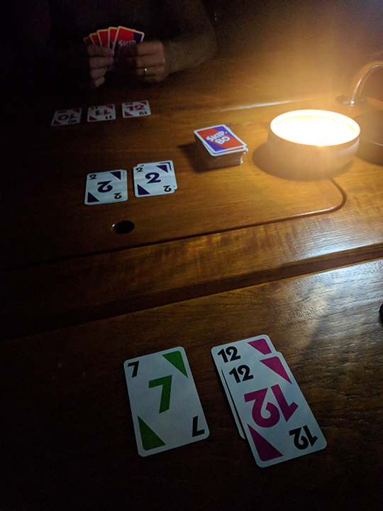 Evening candlelight game of Skipbo :)