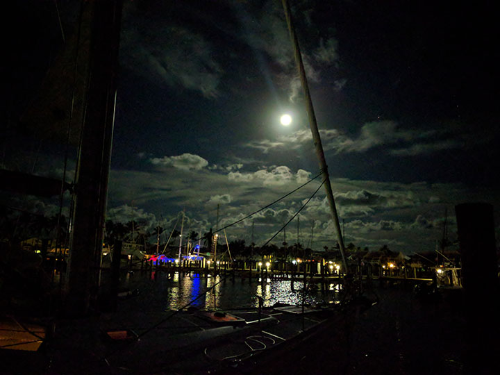Moonlit evening at the marina.