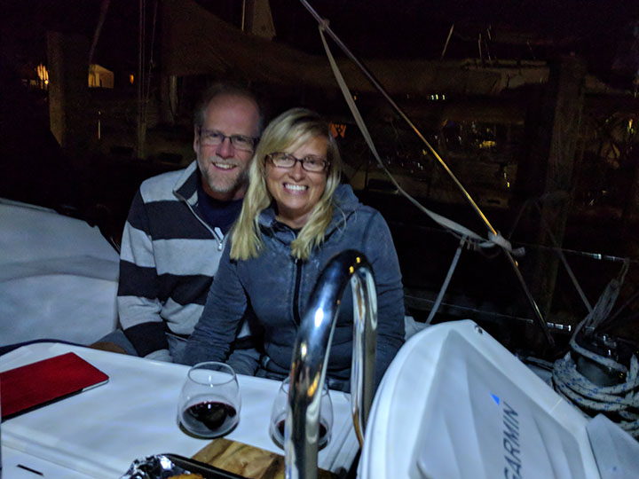 Enjoying an evening with our sailing buddies.