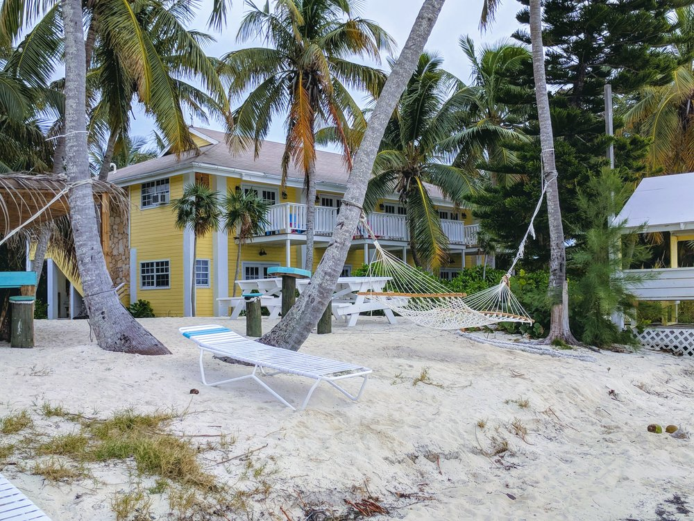 Vacation cottages along the beach.