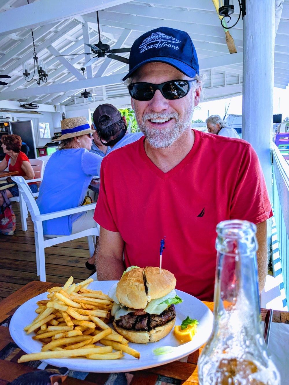 Andrew's burger was outstanding.